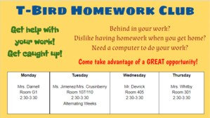 Homework Club Schedule
