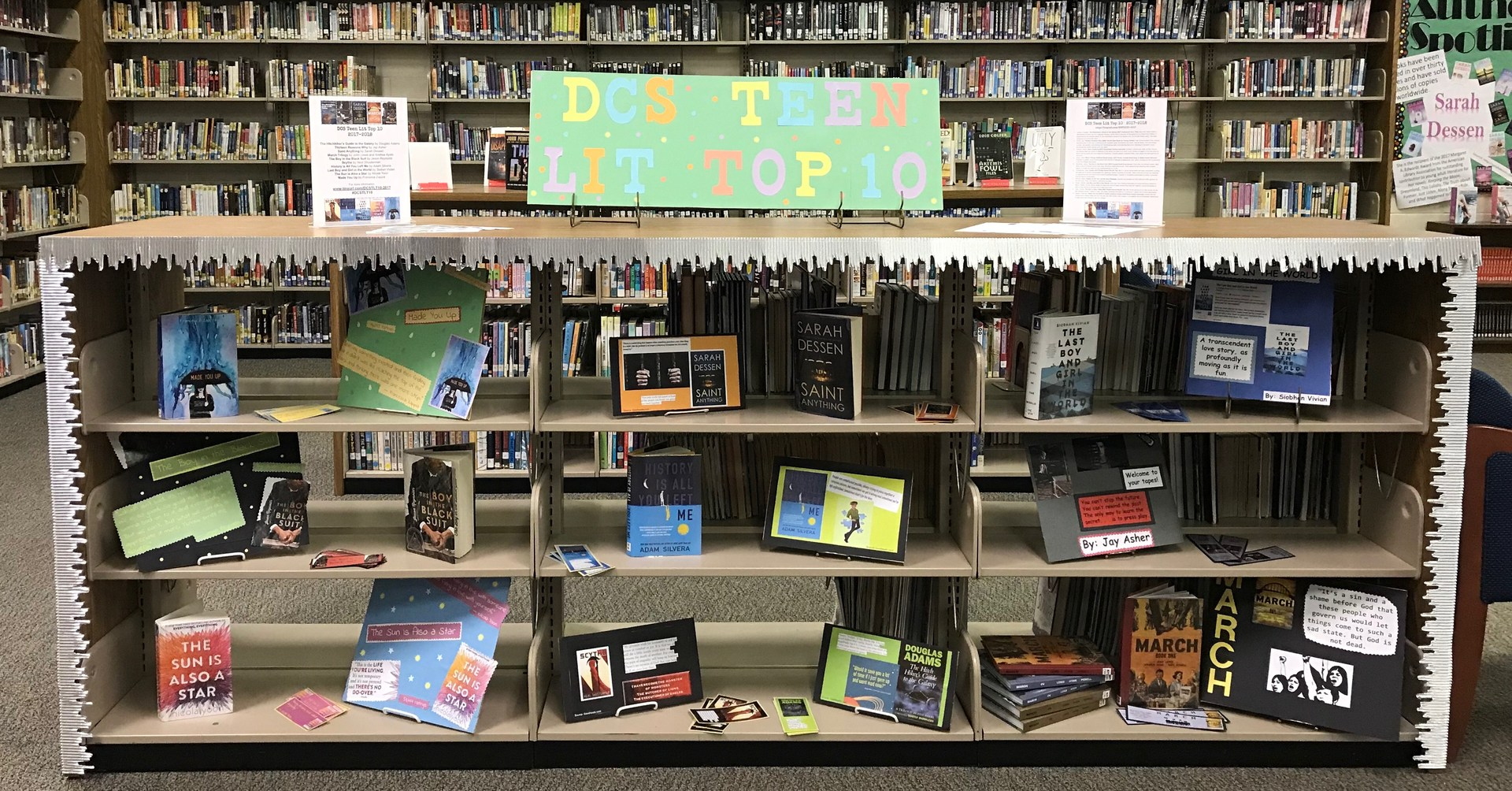 DCS Teen Lit Top 10 book display.