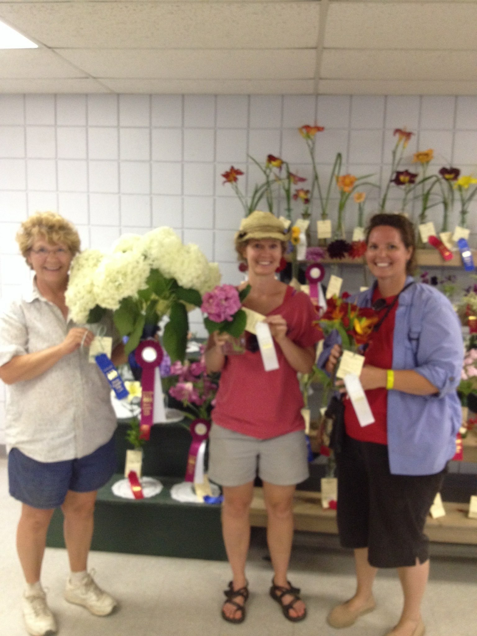 My mom, sister and I won ribbons at BC fair for our flowers.