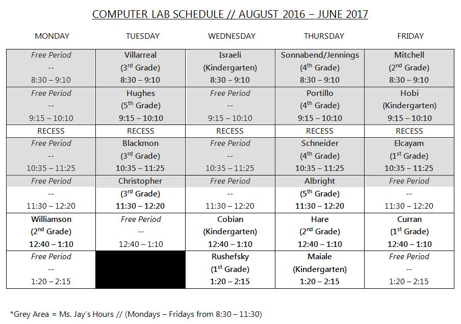 Computer Lab Schedule 2016-2017