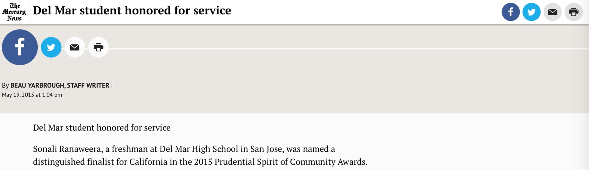 Image of article on Student, Sonali Ranaweera, honored for her outstanding community service with the 2015 Prudential Spirit of Community Awards, as featured in the San Jose Mercury News