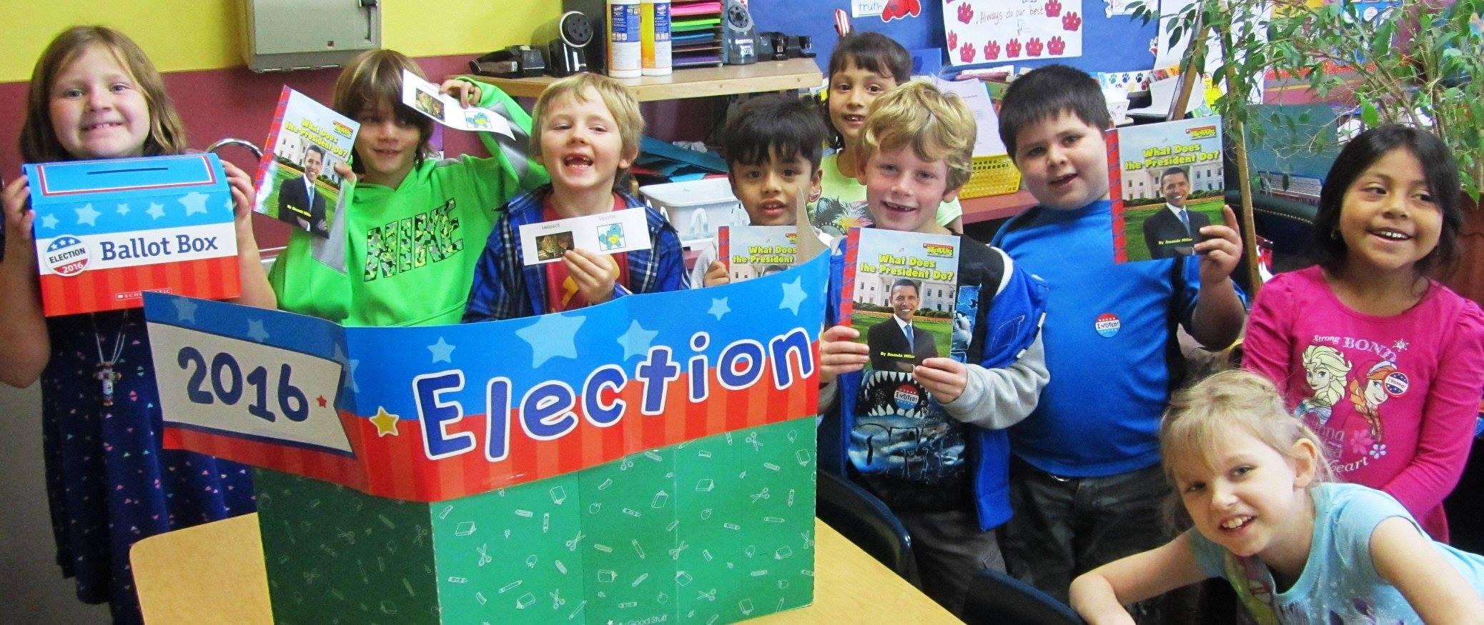 Elementary students practice voting