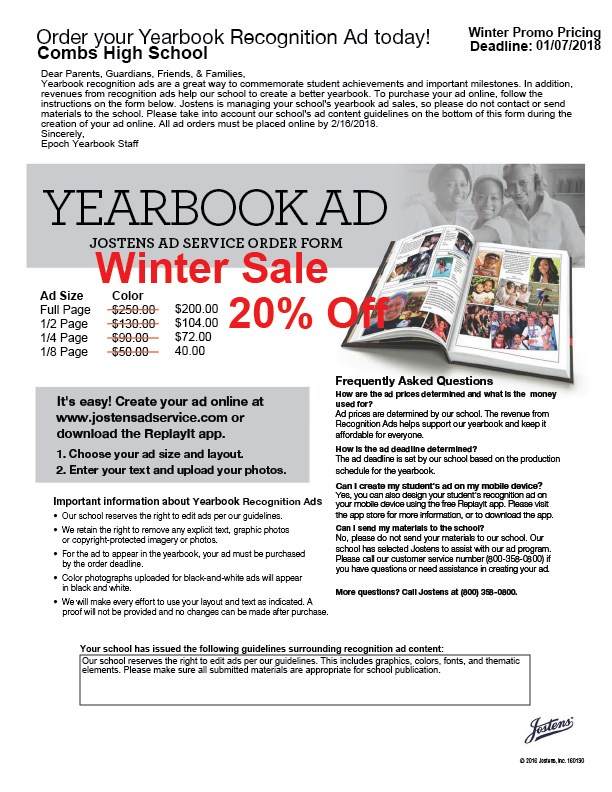 Yearbook Recognition Ads On Sale Now! Featured Photo