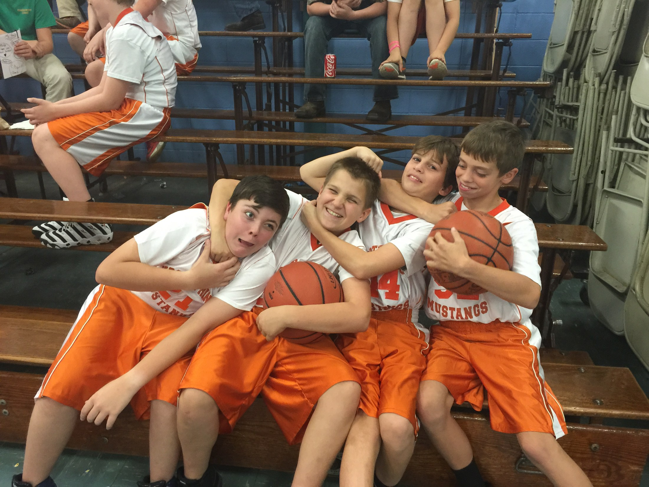Silly pic of 7th grade basetball players