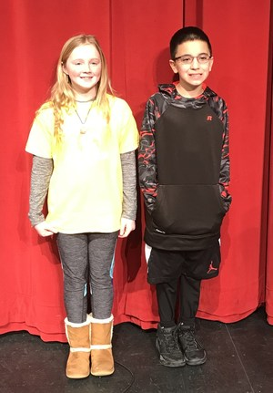 Kenzee Knight and Andres Ruiz take top honors in the Page Elementary spelling bee.