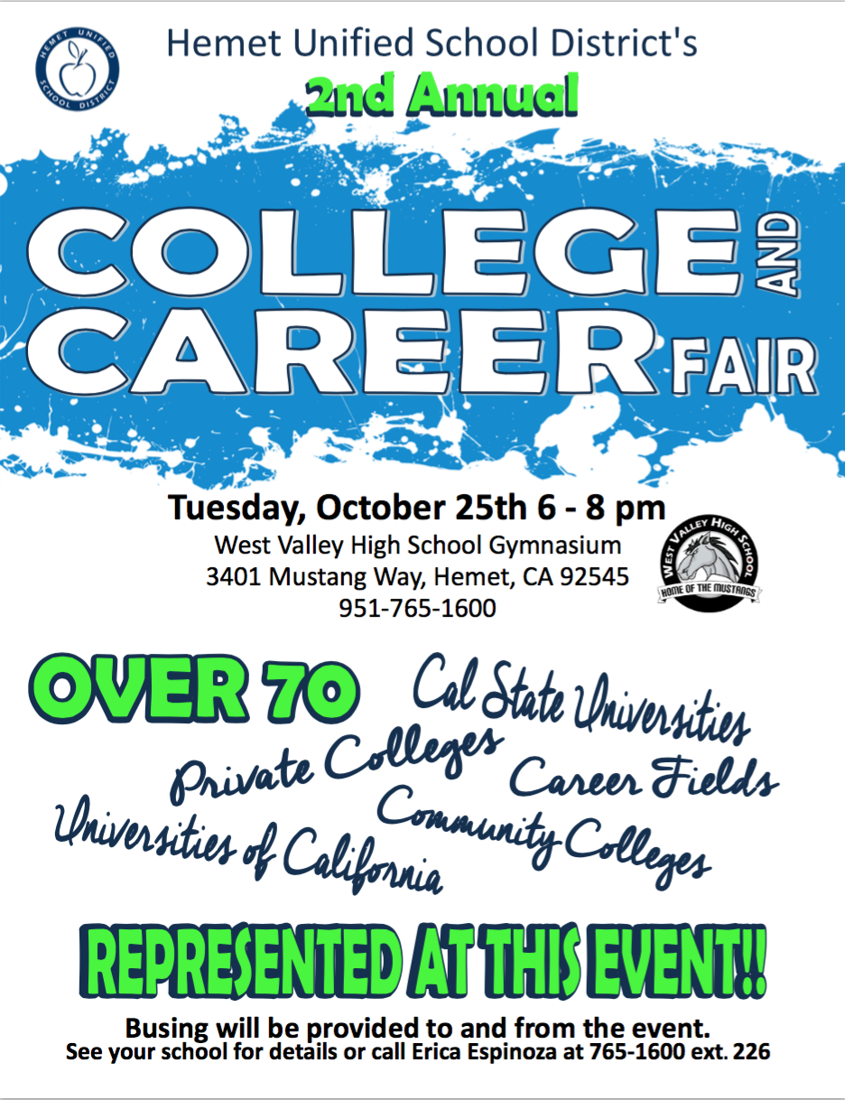 tahquitz high school 2nd annual college and career fair flyer