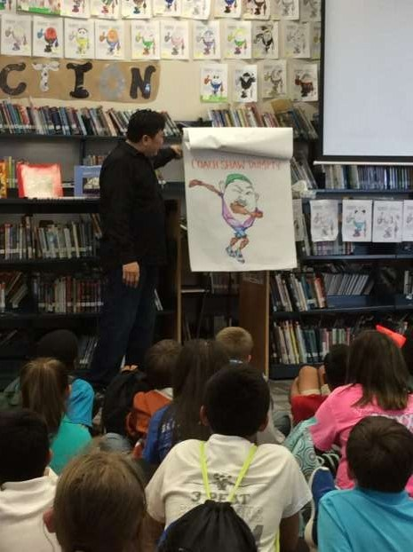 During our author visit, we enjoyed watching him draw unique egg characters!