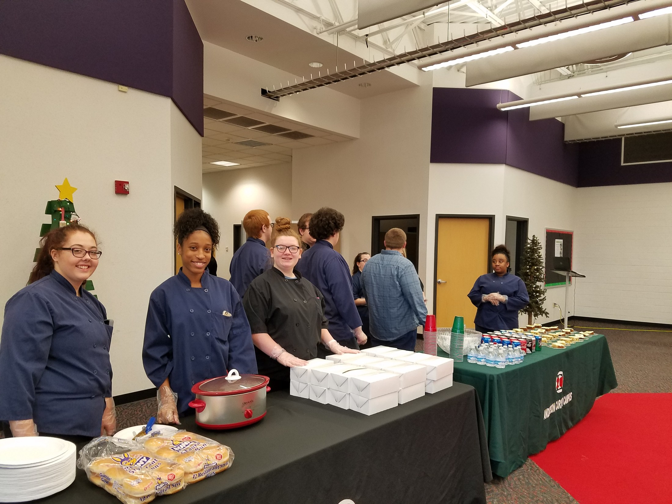 Students serving food