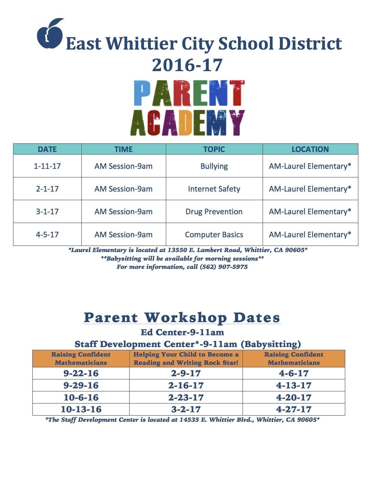 Parent Academy schedule in English