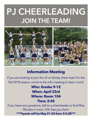PJ Cheerleading info session flyer