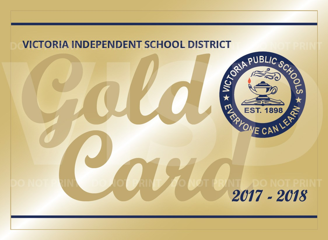 victoria independent school district gold card, front