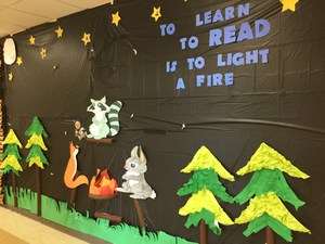 Picture of the decorated hall for Right to Read Week