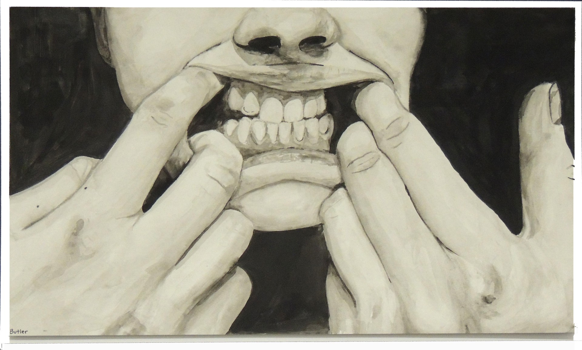 Art student portrait of holding mouth open