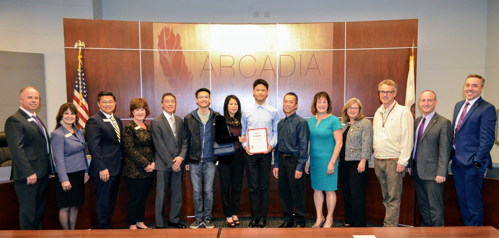 Arcadia High Senior Ryan Leung and family with Arcadia Unified Board of Education