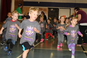 2016 Jog-A-Thon in the gym due to weather - students running