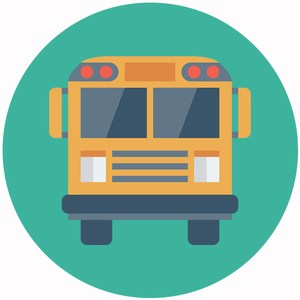 graphic of a school bus representing the transportation department