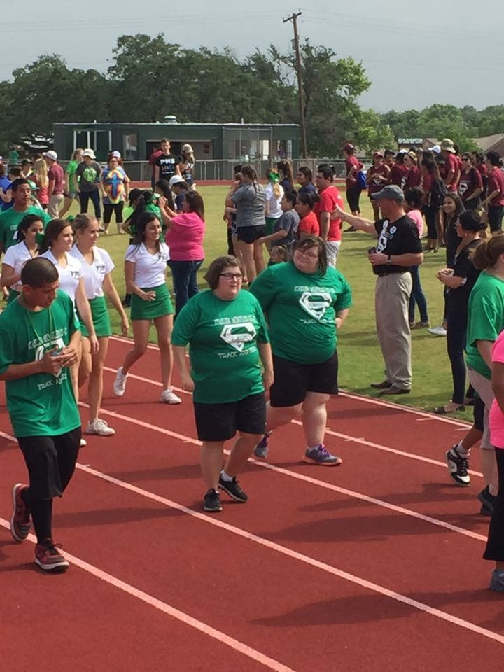 Special Olympics athletes running a race