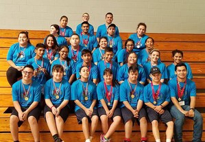 The Bocce team members in a group picture.