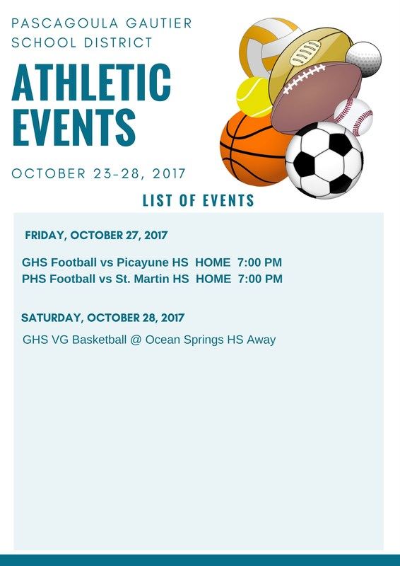 Athletic events for Week of Oct. 23