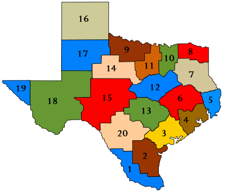 Texas Education Service Center map