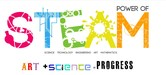 The acronym STEAM in multi-colors with the equation ART + Science = progress