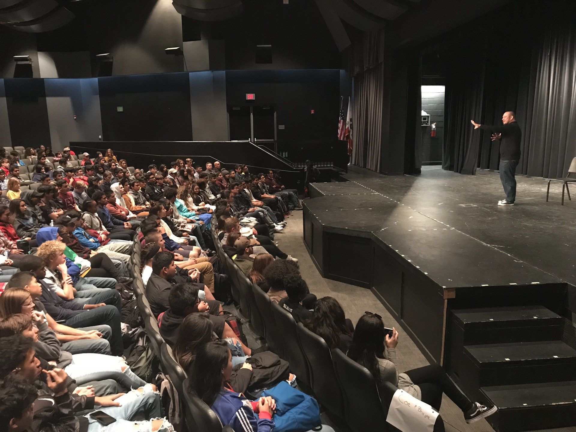 Photo: Alex Alpharoah performing for Golden Valley students