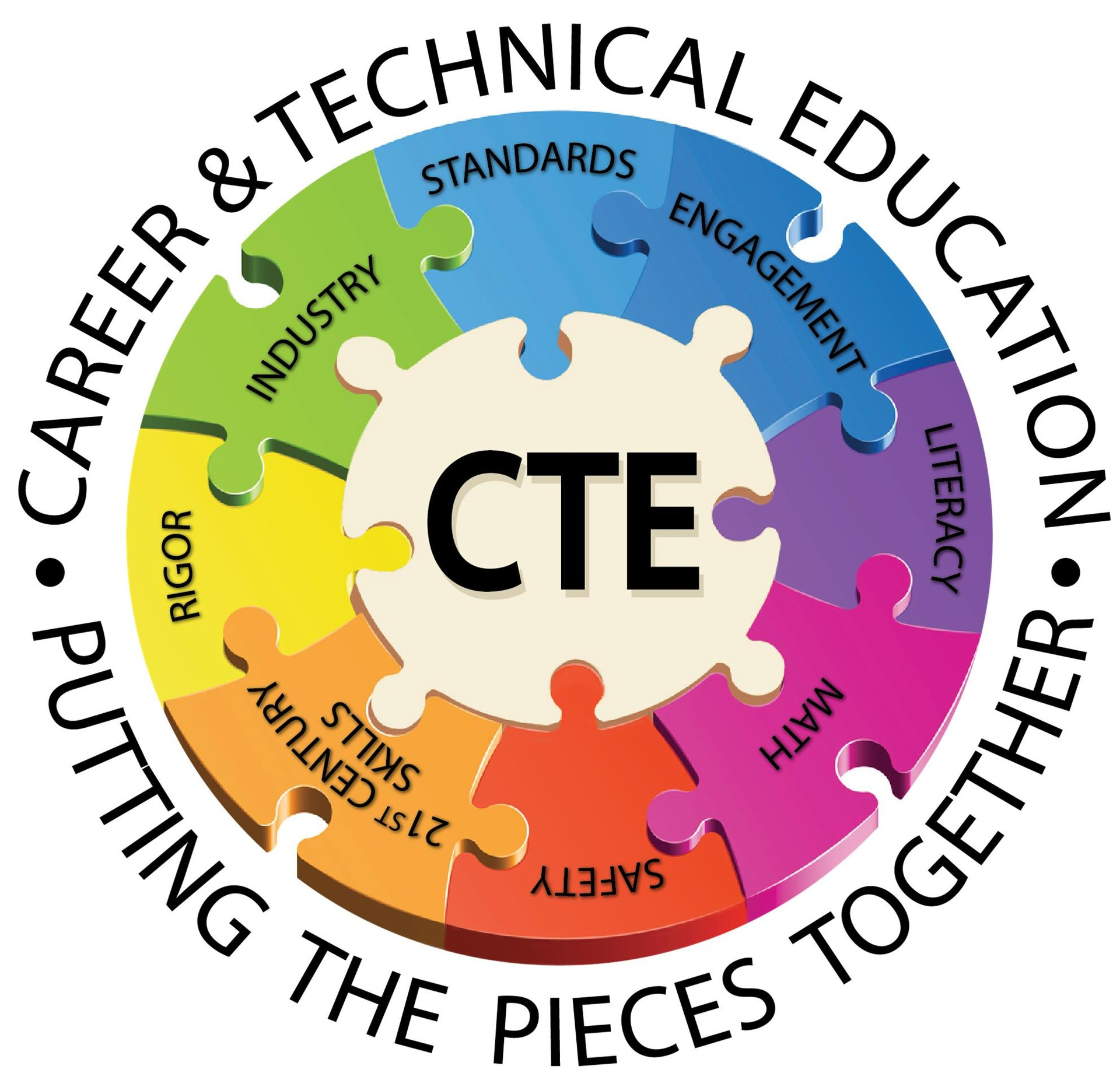 CTE Putting the Pieces Together Puzzle Logo