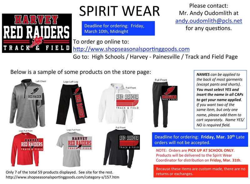 Harvey Red Raider Track & Field Spirit Wear Online Store Thumbnail Image