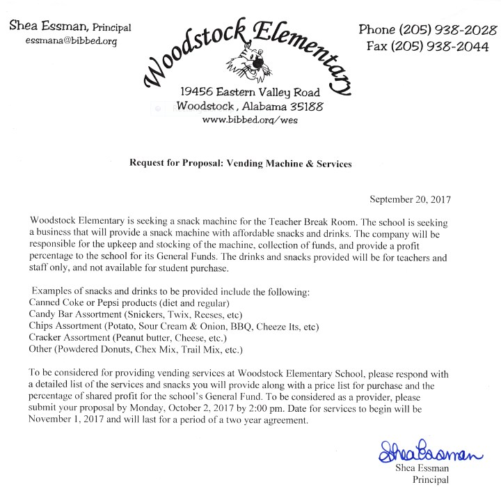 Letter requesting for Proposal: Vending Machine and Services
