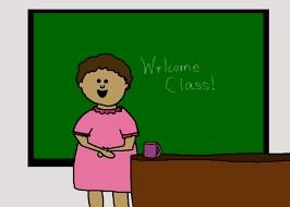 cartoon teacher standing at chalkboard