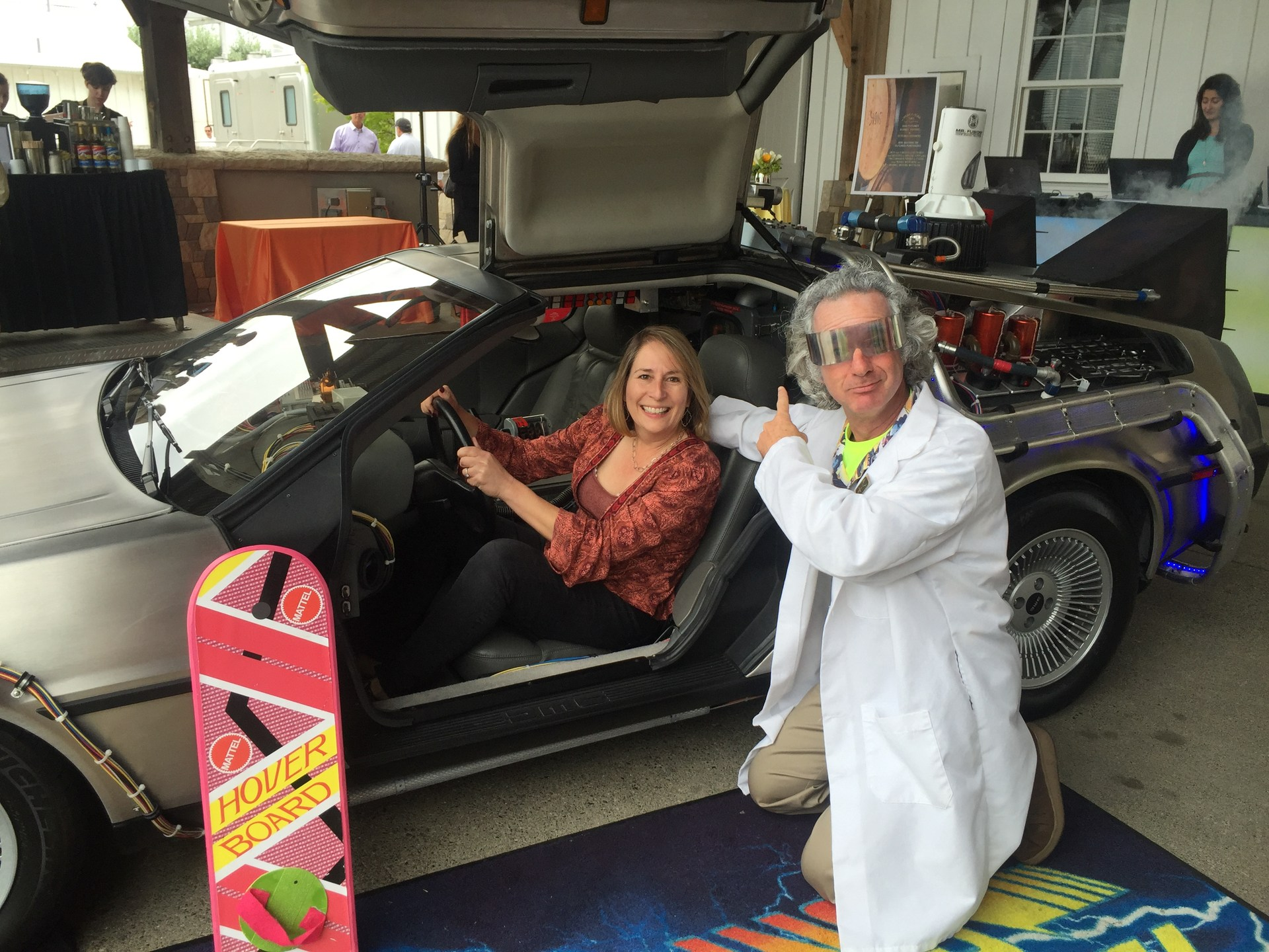 Pam Rissmann in back to the future car