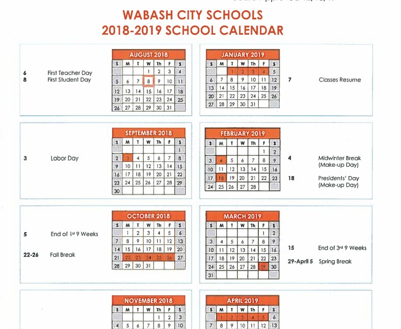 Picture of the School Calendar
