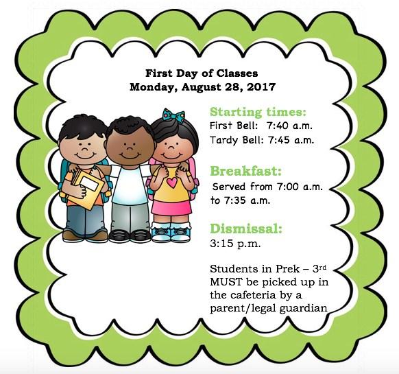 Information on School Schedule: First Bell: 7:40 AM, Tardy Bell: 7:45 AM, Dismissal: 3:15 PM