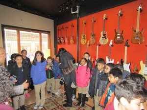 students looking at the black box instruments on display