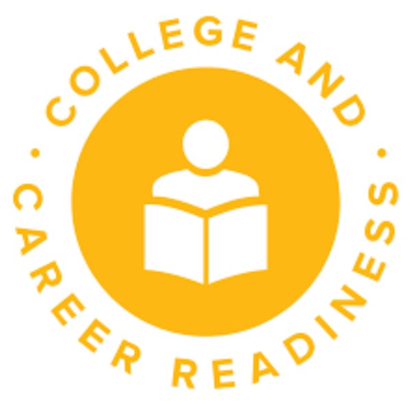 Icon of a student figure reading with college and readiness around it