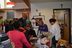 Parent volunteers at book fair.JPG
