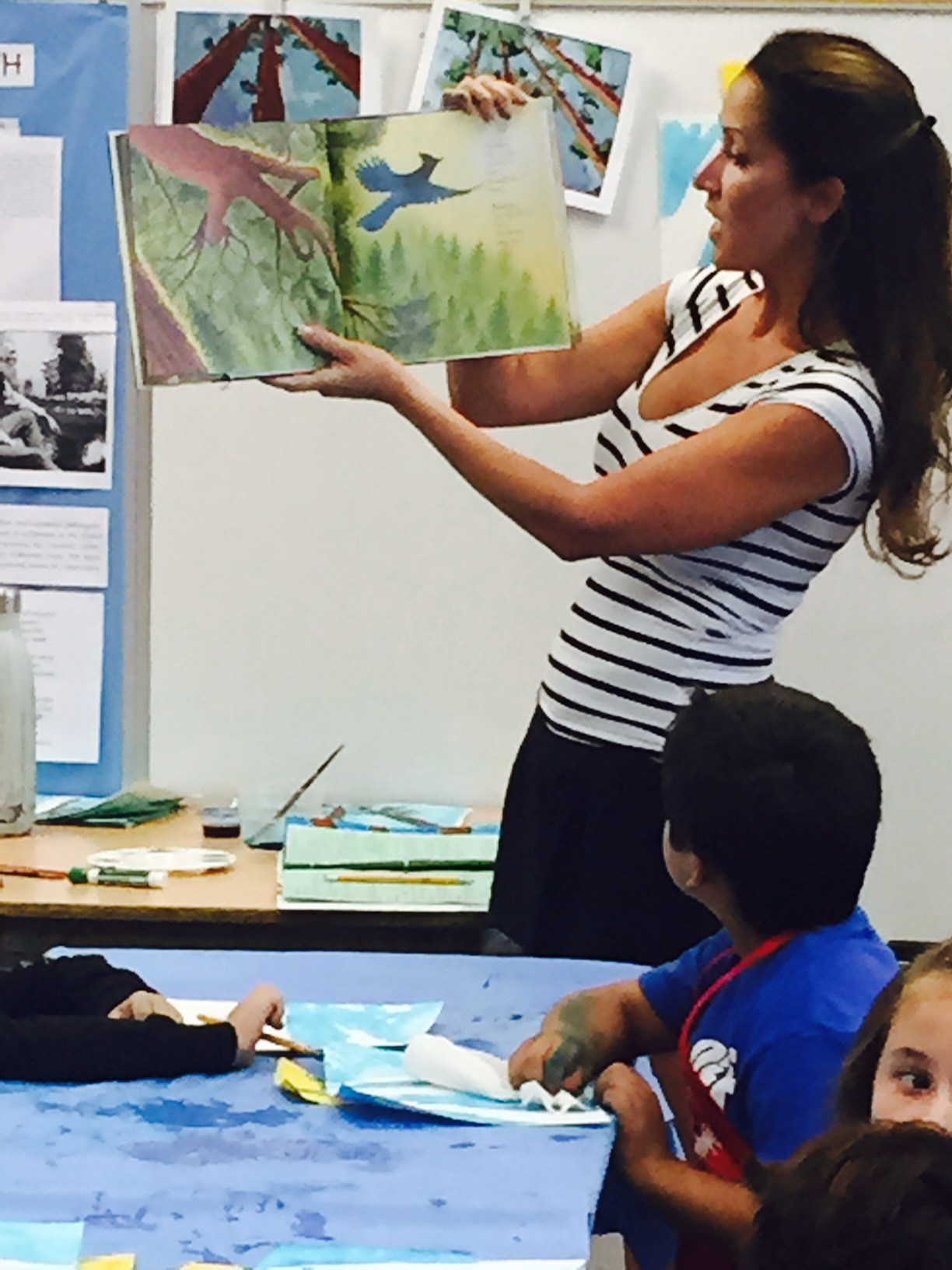 Parent docent teaches an art lesson