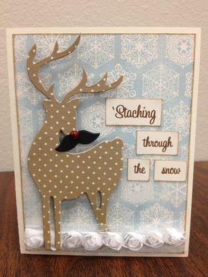 Deer Dashing through the snow card/cut out.