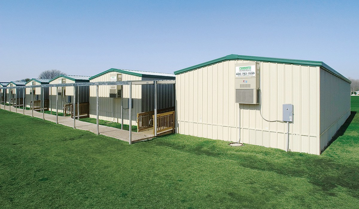 Exterior view of modular classrooms closely resembling ours.