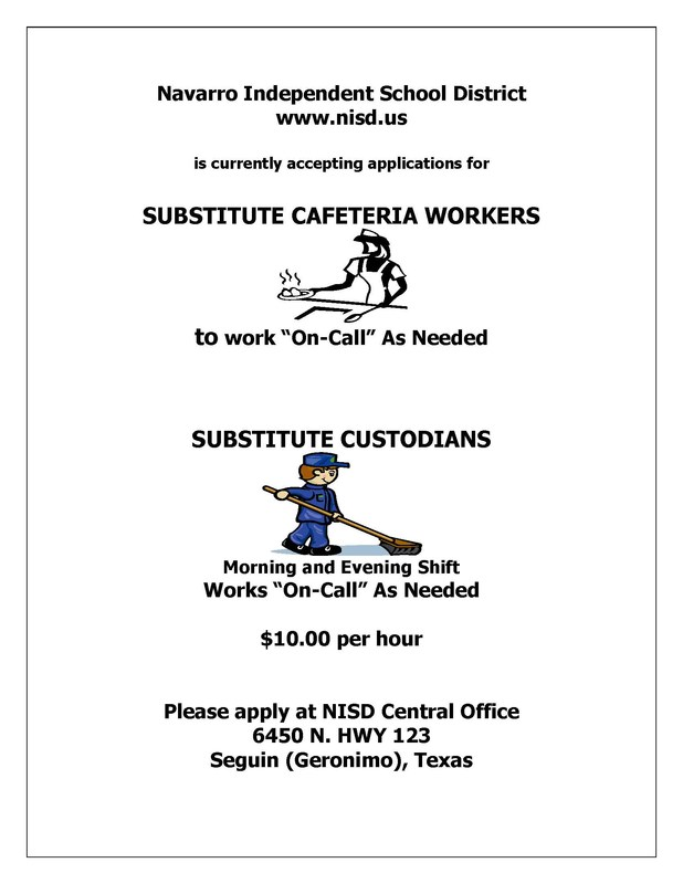 Flyer for substitute custodians and cafeteria workers