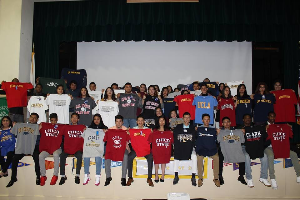students showing college T-shirts