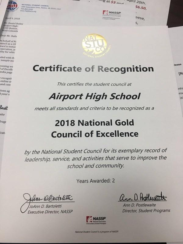 Airport's award certificate