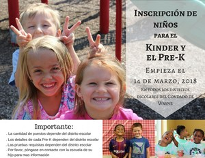 Inscripcion de Ninos Para El Kinder Y el Pre-K