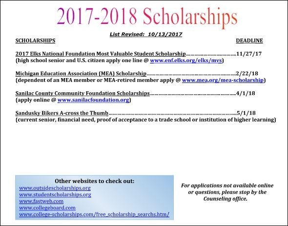 ATTENTION SENIORS: SCHOLARSHIP LISTS Featured Photo