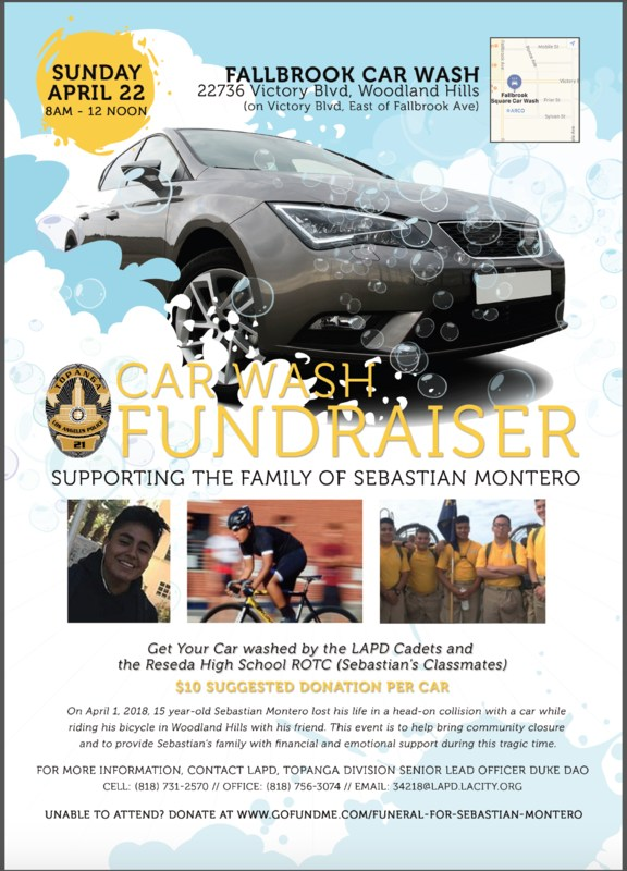 @Reseda HS NJROTC Partners with @LAPDCADETS Car Wash Fundraiser Suppporting the Family of Sebastian Montero Featured Photo