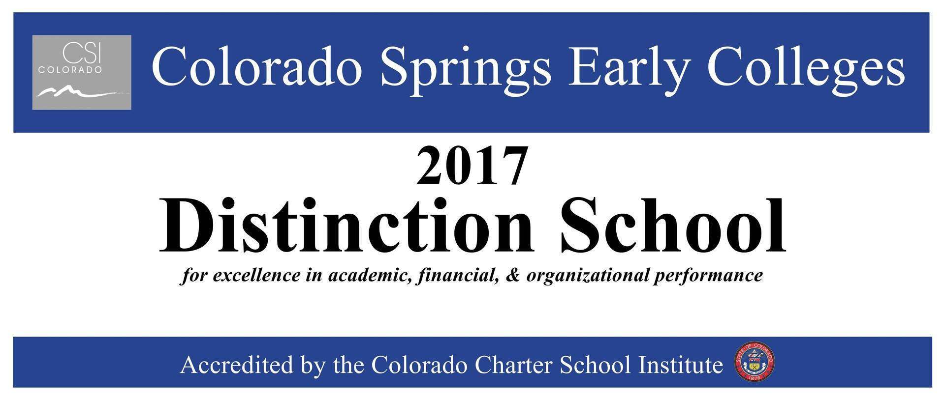 School of Distinction Award 2017