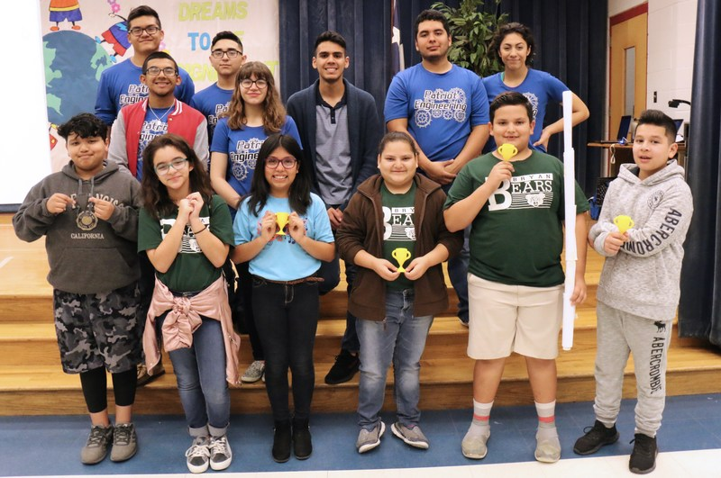 VMHS Patriots Engineering team with the winning team of the building structure activity.