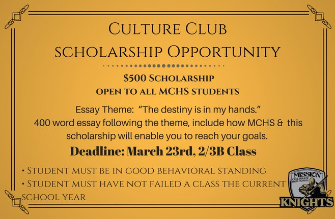 Culture Club Presents $500 Scholarship Opportunity Open to Any Student Currently Attending MCHS Featured Photo