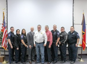 Pictured left to right: Deputy Bill Burnett, Sgt Jaquie De La Cruz, Lt. Leslee Zemlicka (formerly Cade), Tim Harkrider, Constable Cash, Cpt. Don Fullen, Jerry Durrenberger, Bob Barrett, Wayne McCaffrey.
