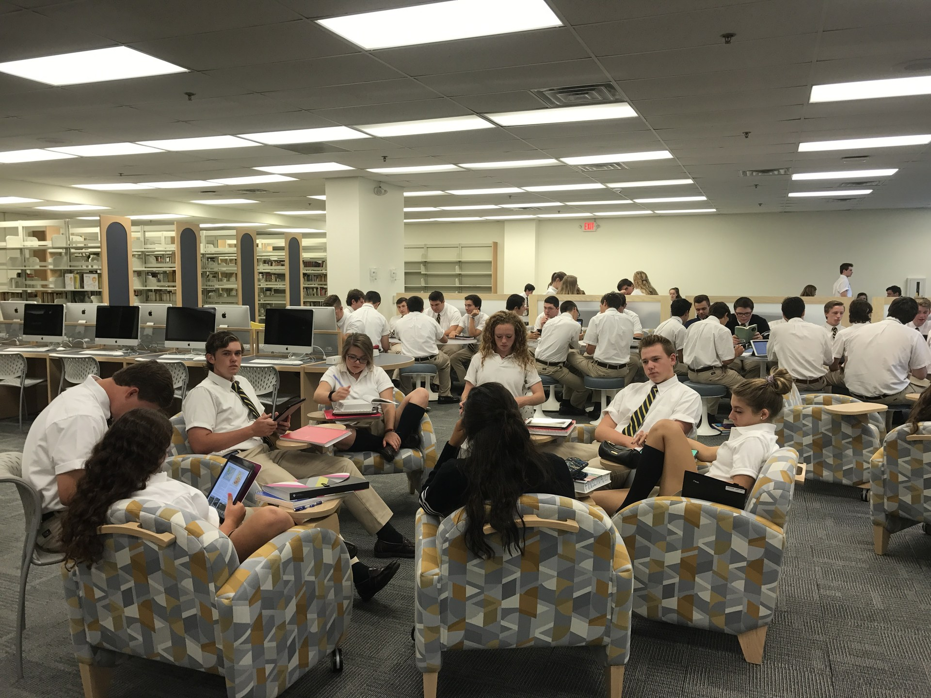 Students sitting in Biondo Research Center